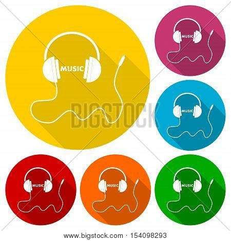 Headphones with cord and word Music icons set with long shadow