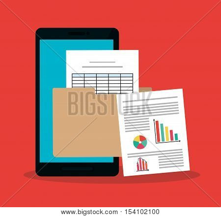 Invoice document and smartphone icon. Business finanace payment and tax theme. Colorful design. Vector illustration