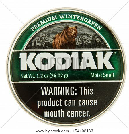 Winneconne WI - 29 October 2016: Can of Kodiak chewing tobacco on an isolated background.