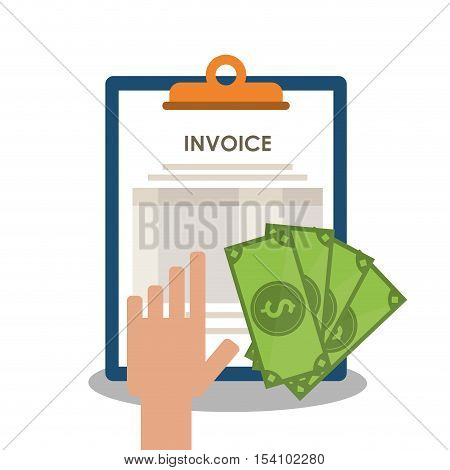 Invoice document and bills icon. Business finanace payment and tax theme. Colorful design. Vector illustration