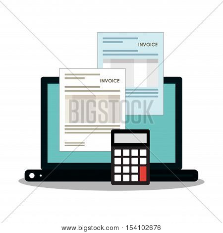 Invoice document calculator and laptop icon. Business finanace payment and tax theme. Colorful design. Vector illustration