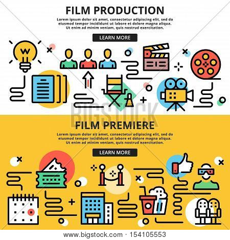 Film production, film premiere, cinema flat line design illustration concepts set. Thin line design graphic icons for web sites, web banners, printed materials, infographics. Flat vector illustration