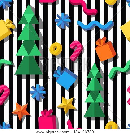 Vector Seamless Geometric Pattern. 3D Stylized Christmas And New Year Icons On Striped Background.