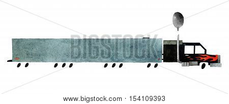 Beautiful cartoon semi truck isolated on white background. Hand drawn watercolor