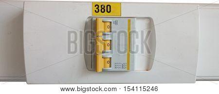 Close up of triple automatic fuse board