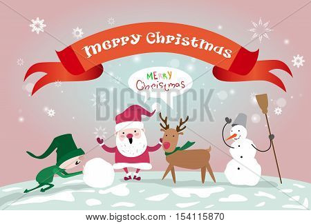 Merry Christmas Santa Clause Reindeer Elf Making Snowman Happy New Year Greeting Card Flat Vector Illustration
