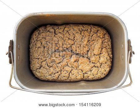 Gluten-free fermented buckwheat bread in a baking pan