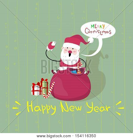 Santa Claus Sit On Red Sack With Present Making Selfie Photo, New Year Christmas Holiday Flat Vector Illustration