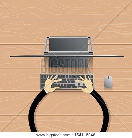 Desktop Modern Computer Workstation Hands Typing Keyboard Vector Illustration