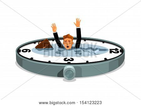 Businessman sinking in time. Business and work overtime excess. Free time lack. Vector clock element with water lake, desperate businessman with bag drowning in time ocean