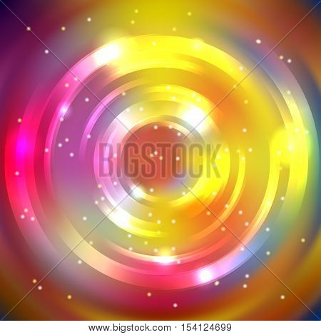 Abstract Circle Background, Vector Design. Glowing Spiral. The Energy Flow Tunnel. Yellow, Pink, Pur