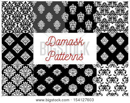 Set of damask seamless patterns. Vector stylized decorative floral patterns of damask style. Decoration tiles with graphic flowery pattern on black and white background