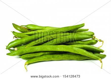Pods of green bean on white background