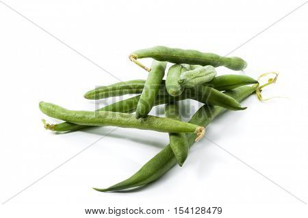 Extreme close-up image of a bunch of green beans