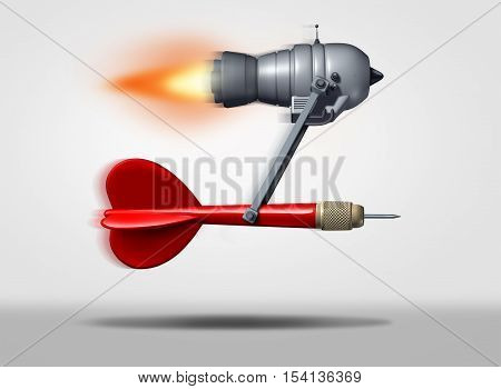 Search engine optimization or seo symbol as a red dart powered by a flying power motor as a technology icon for faster internet service searching and optimized targeted online marketing as a 3D illustration.