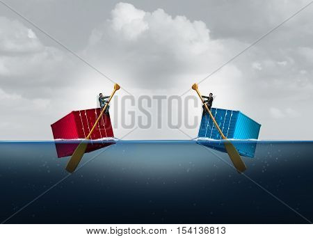 Import export trade and importing exporting agreement as businessmen on floating freight cargo container with 3D illustration elements.