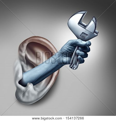 Ear therapy as a medicine medical concept as the hand of a doctor or health specialist treating the human hearing organ as a physician performing an examination for auditory symptoms holding a wrench as a symbol with 3D illustration elements.