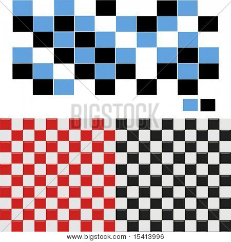 Vector Checkered Seamless Tiles Set