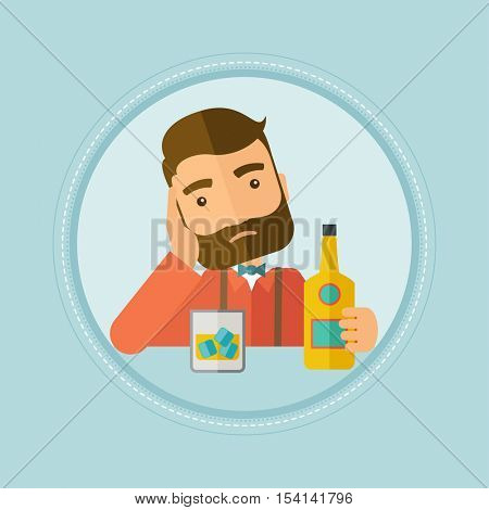 Caucasian hipster man in depression drinking alone at the bar. Sad man sitting at the table with a bottle and a glass at the bar. Vector flat design illustration in the circle isolated on background.
