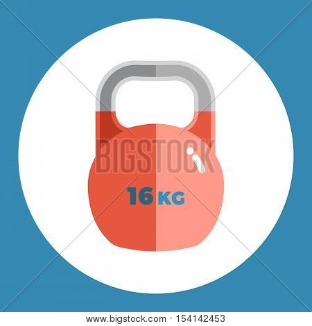 Weight icon. Red weight on a blue background. Sports Equipment. Vector Illustration