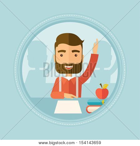 Hipster caucasian student with beard raising hand in the classroom for an answer. Student sitting at the table with raised hand. Vector flat design illustration in the circle isolated on background.