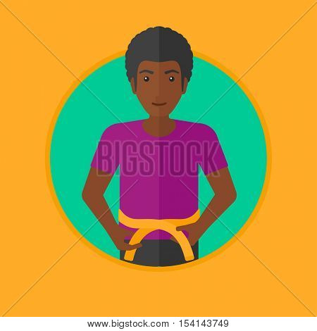 An african-american man measuring his waistline with a tape. Man measuring with tape the abdomen. Man with centimeter on a waist. Vector flat design illustration in the circle isolated on background.