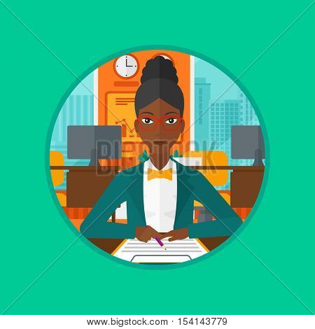An african business woman signing business documents. Woman is about to sign a business agrement. Confirmation of transaction by signing of contract. Vector flat design illustration in the circle.