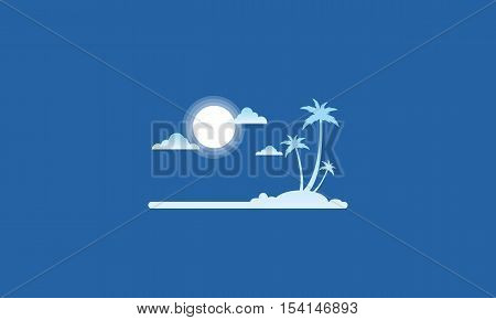 Silhouette of island flat vector style collection stock