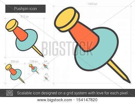 Pushpin vector line icon isolated on white background. Pushpin line icon for infographic, website or app. Scalable icon designed on a grid system.