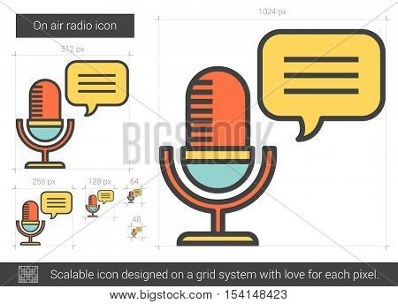 On air radio vector line icon isolated on white background. On air radio line icon for infographic, website or app. Scalable icon designed on a grid system.