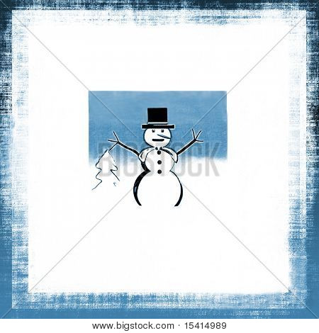 Snowman Grunge Background