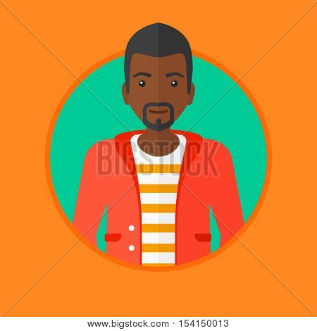 An african-american confident businessman. Young and successful businessman. Vector flat design illustration in the circle isolated on background.