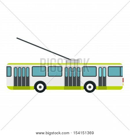 Trolley bus icon. Flat illustration of trolley bus vector icon for web