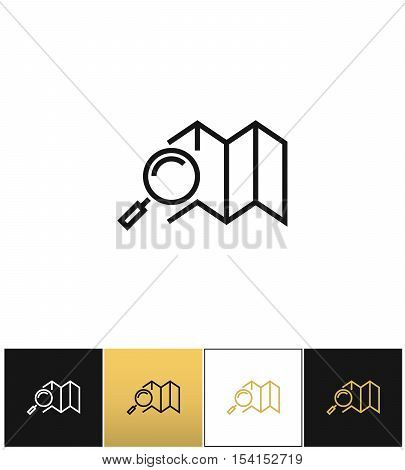 Navigation map and road search vector icon. Navigation map and road search program on black, white and gold background