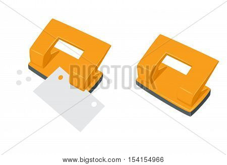 Punches pierce paper. Process of staples documents. Office work tool. Punches pierce sheets cartoon vector. Working in office, education, business concept.