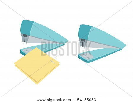 Stapler staples sheets. Process of staples documents. Office work tool. Stapler staples paper cartoon vector. Working in office, education, business concept.