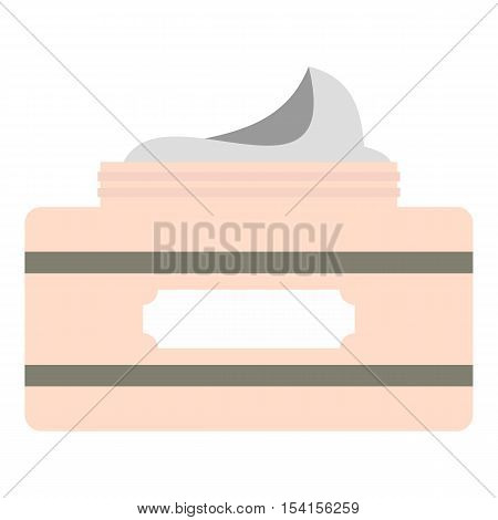 Cream in a jar icon. Flat illustration of cream in a jar vector icon for web