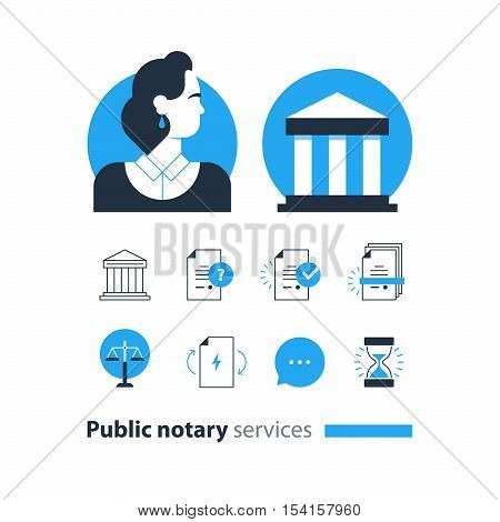 Flat design vector illustration. Public notary concept