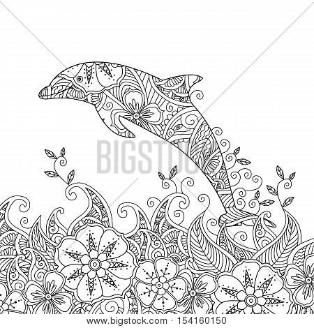 Coloring page with one jumping dolphin in the sea. Square composition. Coloring book for adult and older children. Editable vector illustration.