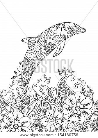 Coloring page with one jumping dolphin in the sea. Vertical composition. Coloring book for adult and older children. Editable vector illustration.