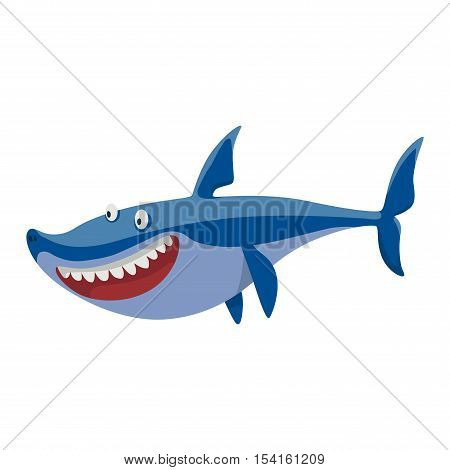 Vector illustration toothy white swimming angry shark. Animal sea isolated shark character underwater cute marine wildlife mascot. Scary smile cool evil monster shark character funny predator.
