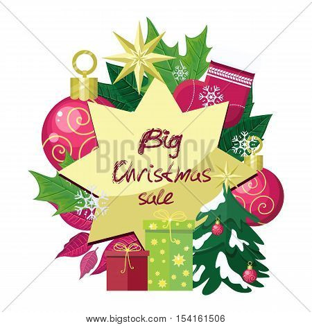 Big christmas sale vector concept. Flat design. Illustration with leaves, christmas tree toys, color gift boxes, sock, stars, snowflakes. Winter holidays shopping. For season sales and discounts ad