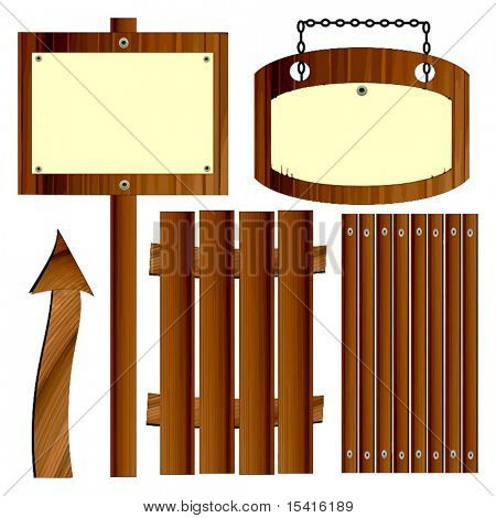 Vector Wood Set, Easily Mix And Match Elements