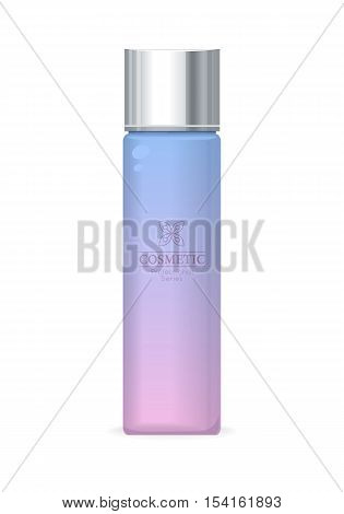 Cosmetic professional series. Purple plastic tube for cosmetics on white background. Product for body, face and skin care, beauty, health, freshness, youth, hygiene. Realistic vector illustration.