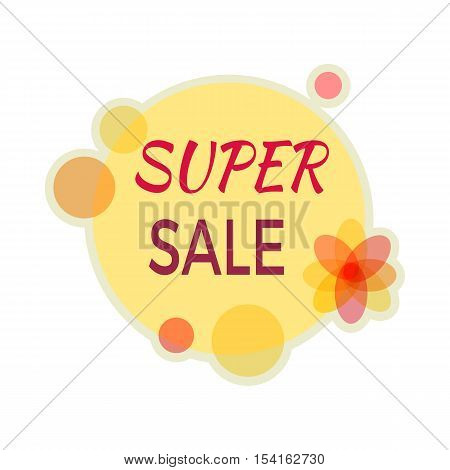 Sale sticker vector illustration. Flat style. Round bright sticker with super sale text. For store goods sales and discounts advertising. Product label design. Black friday. On white background