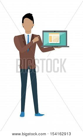 Standing man in brown jacket, blue pants and tie with laptop presents web infographic. Gray laptop with spreadsheet on blue screen. Website development project, SEO process information