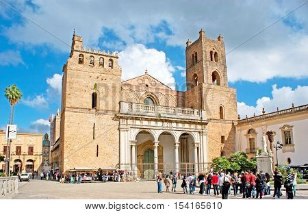 MONREALE ITALY - OCTOBER 10 2016: The Cathedral of Assumption of Virgin Mary is one of the most famous landmarks of Sicily great example of Norman architecture on October 10 in Monreale.