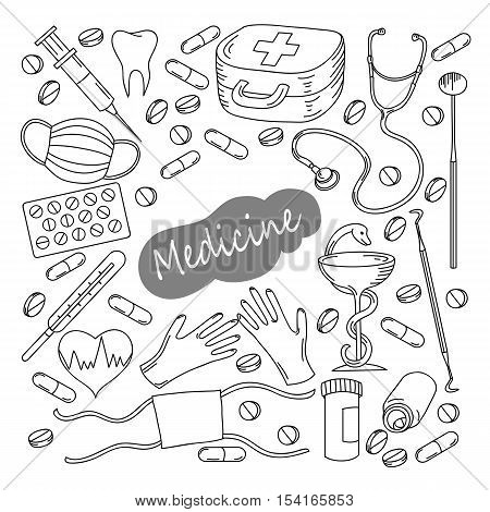 Hand Drawn Medicine Icon Set. Medical Sketched Collection. Healthcare, Pharmacy Doodle Icons.