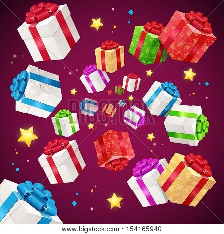 Present Boxes Background Holiday Birthday. Falling Gift Boxes. Vector illustration