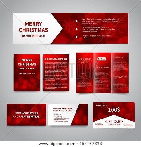 Merry Christmas Banner, flyers, brochure, cards, gift card design templates set with snowflakes, sparkles on silver background. Merry Christmas and Happy New Year party invitation, promotion printing